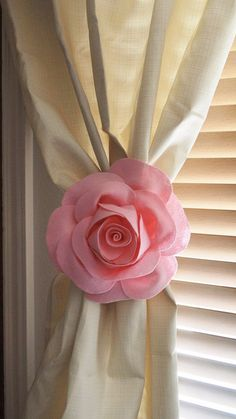 Two Rose Flower Curtain Tie Backs Curtain Tiebacks Curtain Holdback -Drapery Tieback-Baby Nursery Decor-Light Pink Decor