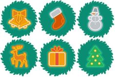 This free set of 12 Christmas/holiday icons offers wreaths decorated with a stocking, snowman, Christmas tree, bells, and more.