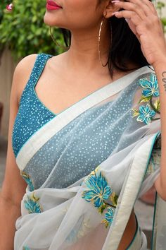 Buy Off White and Blue Tissue Georgette Half and Half Saree - Sarees Online in India Golden Blouse Designs, New Saree Blouse Designs, Blouse Designs Catalogue, Saree Blouse Patterns, Fancy Blouse Designs, Black And White Saree, Dj Movie, Saree Jackets, Designer Sarees Wedding