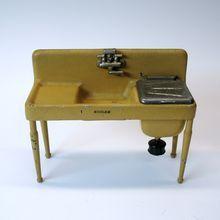 Antique ARCADE cast iron painted miniature toy Kohler sink