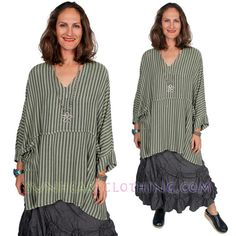 DAIRI MOROCCAN COTTON STRIPE PLUS NoBi 2PockeT TUNIC BOHO SML-MED-LG-1X-2X-6X #DAIRI #TOP #Casual
