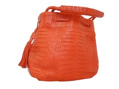 Nancy Gonzalez Orange Crocodile Drawstring Tassel Shoulder Bag