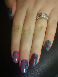 checkered nails Hair And Nails, My Nails, Checkered Nails, Angel Nails, Professional Nails, Nail Tech, Nail Art, Plaid Nails, Nail Arts