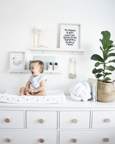 That smile makes me smile 10 x harder 😍 Clean, White, and Bright Nursery! So simple but beautiful. Ikea Baby Room, Baby Boy Rooms, Baby Room Decor, Baby Boy Nurseries, Nursery Room, Kids Bedroom, Ikea Nursery, Nursery Dresser, Bright Nursery