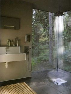 "Shower rainfall. I'd like a bathroom with organic elements - such as a vertical garden or moss ""bath mat"" - with a clear link to nature. This is beautiful."