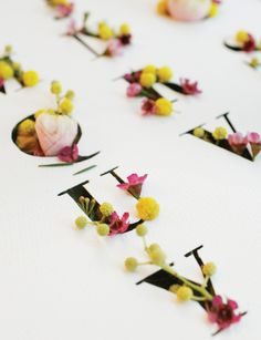 Floral typography by Emma Luk, Shillington Graduate. More student work --> http://www.shillingtonschool.com/graphic-design-course/student-work #typography #floral #handmade #shillington #shillingtoneducation #shillony
