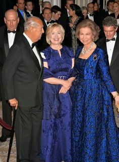 Queen Sofia with fashion designer Oscar de la Renta and Hillary Clinton--at the Gold Medal Gala of the Queen Sofia Spanish Institute Honoring Hillary Clinton and Antonio Banderas in 2013