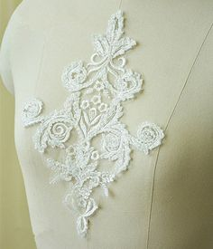 Wedding Lace Applique, Beaded Lace Applique, Lace Applique , Wedding Dress Trim, Wedding Accessory DIY, Beaded Lace Applique, 1 Piece by LaceNTrim on Etsy