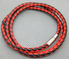 Shoply.com -Leather bracelet is weave for black and red color browne. Only $3.00