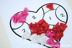 Crayon box chronicles - heart tissue paper-by-number craft Valentines Day Crafts For Preschoolers, Preschool Valentine Crafts, Valentine's Day Crafts For Kids, Valentine Activities, Saint Valentine, Valentines Day Hearts, Valentines Diy, Valentine Nails, Cadeau St Valentin