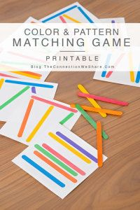 Download this FREE printable game. Color and pattern matching game for kids with popsicle sticks. Perfect for busy bags!