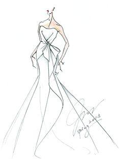 Junko Yoshioka bridal sketch. Wedding Dress illustration courtesy of Junko Yoshioka