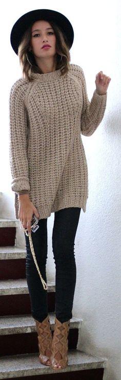 Beige Chunky Knit Sweater