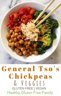 General Tso's Chickpeas & Veggies A healthier and delicious take on the classic deep fried dish — plus it's gluten-free and plant-based! Sautéed veggies, chickpeas or even chicken stir fried with a General Tso's sauce. A quick and easy weekday meal. Veggie Recipes, Whole Food Recipes, Cooking Recipes, Healthy Recipes, Easy Veggie Meals, Broccoli Main Dish Recipes, Easy Tofu Recipes, Dinner Recipes, Plant Based Eating