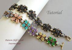 Beading tutorial instructions - beadweaving pattern beaded superduo or twin seed bead jewelry - beadwork MYSTIC beadwoven bracelet