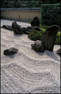 Carefully raked sand in the Zen garden of Zuiho in Temple, Kyoto, Japan