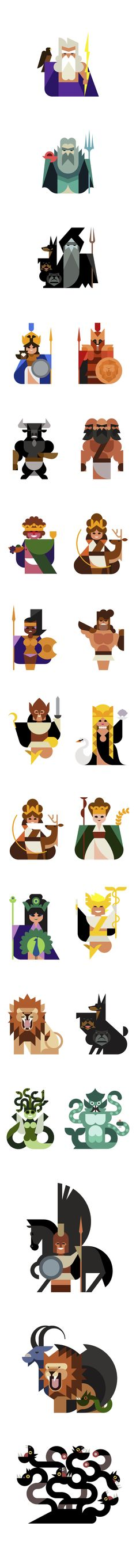 """The Oh my God Exhibition takes a geometric look at character design. In ancient Greece they had something better than superheroes; they had gods, each with their own powers, weaknesses, backstory and followers.  By """"Hey"""" on Behance http://www.behance.net/gallery/Oh-my-god/8977355"""