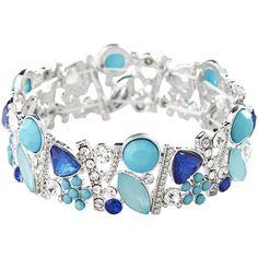 Avenue Blue Faceted Stretch Bracelet ($8) ❤ liked on Polyvore featuring jewelry, bracelets, blue sea, plus size, avenue jewelry, rhinestone bangle, stretch jewelry, clear jewelry and blue rhinestone jewelry