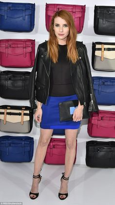 Colour blocks: Emma Roberts, 25, was putting her boldest foot forward on Wednesday back in...