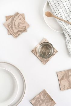 DIY Marbled Leather Coasters