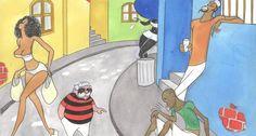 """Na esportiva. Lan ironiza a rivalidade entre os clubes de futebol do Rio: na legenda da charge, o torcedor com a camisa do Flamengo diz: """"Cuidado! Esse mosquito com as cores do Vasco me ferrou no domingo e estou com dengue até hoje!"""""""