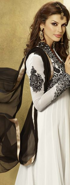 417386: White and Off White color family unstitched Anarkali Suits.