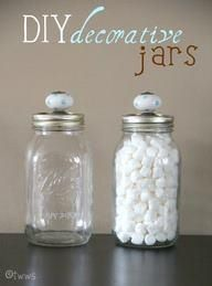Decorate your jars by putting a decorative knob on the lid.