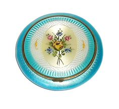 Turquoise Guilloche Enamel Floral design Compact. BEAUTIFUL BLUE