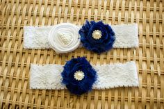 Blue and White Wedding Garter Set Bridal by ThePinkBunnyWeddings, $18.99