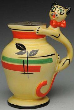Vintage Czech Pottery Cat Handle Pitcher
