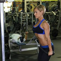 Day 5 - Backs and Arms   4) Triceps Pushdown (Rope Attachment) (finish)     3 Sets / 12 Reps    (Note Superset w/ Bicep Curls)