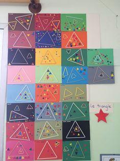 Teaching Shapes, Teaching Art, Kindergarten Art, Preschool Art, Art Activities For Kids, Art For Kids, Triangle Art, Shape Crafts, Shape Art