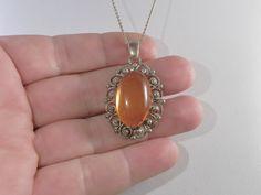 Vintage Pendant Natural Amber Ornate 800 by DanPickedMinerals