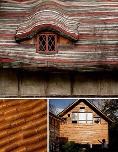 house made of trash and recyclable..photo 4 walls from stacked corks and recycled roof tiles