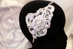 """Купить Свадебный ободок """"Роскошь"""" - белый, свадебное украшение, свадебный аксессуар, для прически неветы"""
