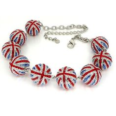 Butler & Wilson Union Jack Crystal Necklace Nwt