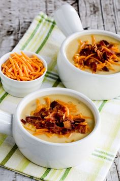 Here's a delicious cheesy cauliflower soup with bacon and green chiles