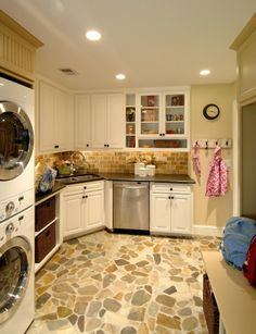 River Rock Floor Brick Backsplash Black Counters White Cabinets Stone Paint Laundry