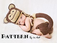 Chip the Chimpanzee Monkey Baby Hat and Diaper Cover Set Crochet Pattern
