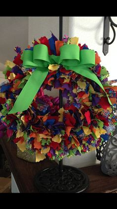 Rag Wreath  Autism Awareness by PhrasesByChristina on Etsy, $25.00
