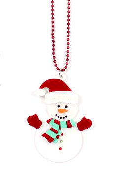 snowman necklace xmas jewelry white christmas apple pie jewelry - created with fun in mind!
