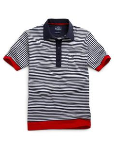 Navy Breton Stripe Polo Shirt