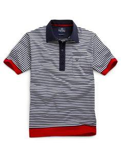 Navy Breton Stripe Polo Shirt
