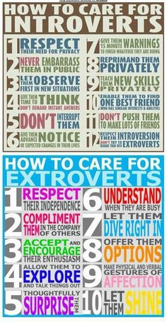 A poster reminding us how to care for others, extroverts and introverts - we each need something different