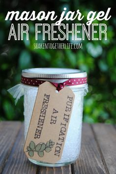 Easy tutorial to make DIY mason jar gel air fresheners! Replace chemical filled air fresheners with a homemade air freshener made with essential oils!