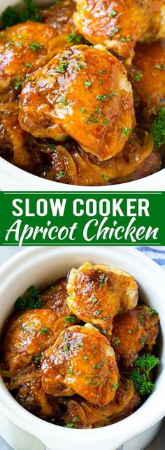 This slow cooker apricot chicken recipe is tender chicken thighs in a delicious sweet and savory sauce. A super easy dinner option!