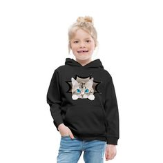 SpreadCats | Katze Kätzchen Mieze Katzenfreund - Kinder Premium Hoodie. Süßes Baby Kätzchen, Katze. Schönes Design für Katzenbesitzer, Katzen Freunde und Katzen Liebhaber. Tolles Geschenk für Katzenbesitzer. Mein Herz sagt miau.#katze #Kätzchen #katzenliebhaber #cat #cute Hoodies, Sweatshirts, Graphic Sweatshirt, Sweaters, Fashion, Gifts For Cats, Great Gifts, Baby Kitty, Nice Designs