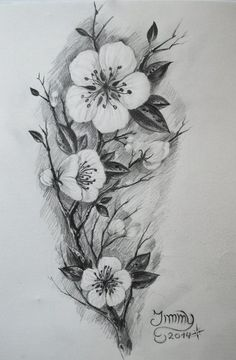 Black And White Cherry Blossom Tattoos Tattoos On Pinterest Matching Couples Cherry Blossoms And