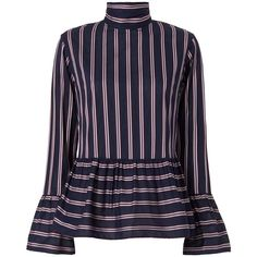 Le Sarte Pettegole Women's Ruffled Woven Stripe Blouse (1.594.955 IDR) ❤ liked on Polyvore featuring tops, blouses, shirts, blusas, cotton shirts, long sleeve blouse, blue shirt, ruffle shirt and shirt blouse