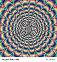 Optische Täuschung. Auch hier spielt uns unser Gehirn im Zusammenspiel mit unseren Augen eine Streich: die optische Täuschung besteht in einem eingebildeten Pulsieren des Musters.